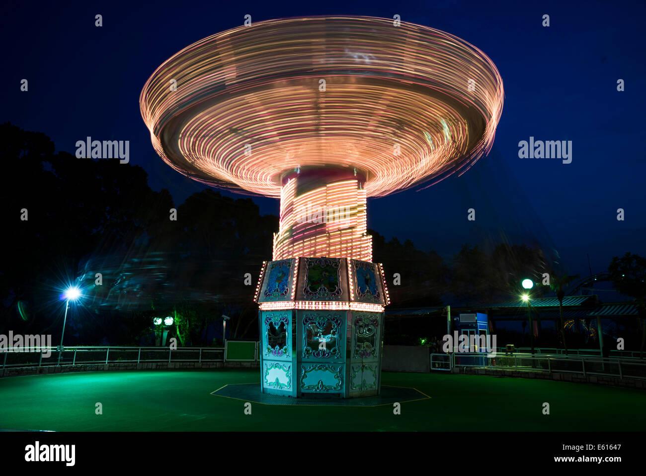 Rotating swing ride, Ocean Park, Hong Kong Island, Hong Kong, China - Stock Image