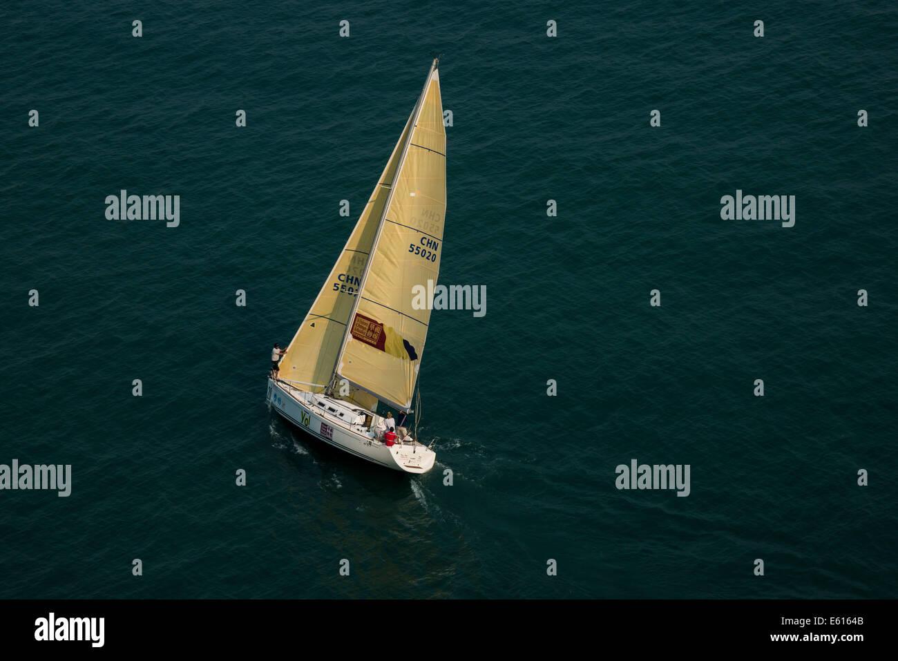 Segelboot, Hong Kong, China - Stock Image