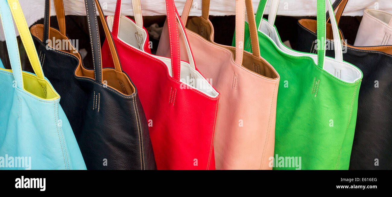 Colorful bags for sale, weekly market, Santanyi, Majorca, Balearic Islands, Spain - Stock Image