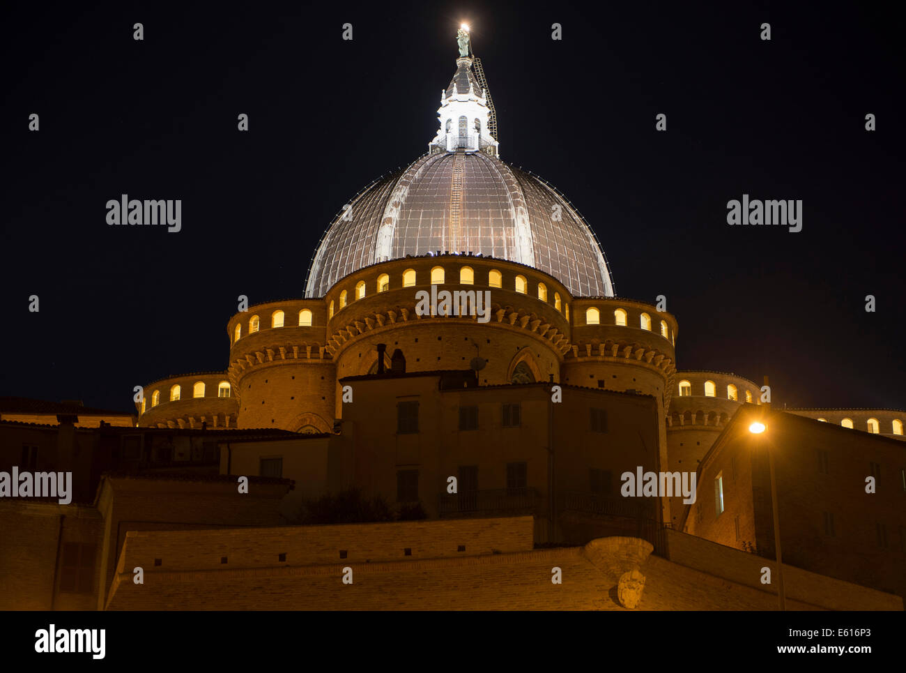 The Dome of the Holy House of Loreto by night, Loreto, Marche, Italy - Stock Image