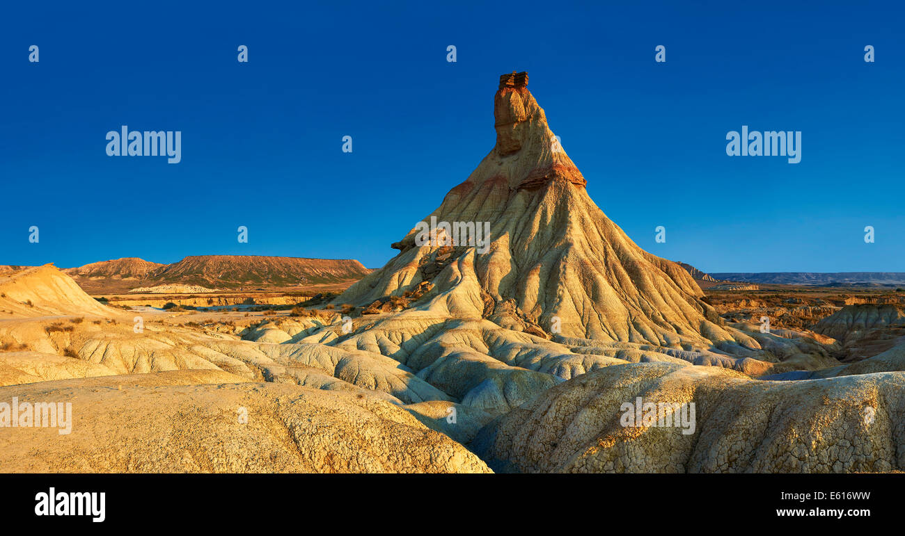 Castildeterra rock formation in the Bardena Blanca area of the Bardenas Reales Natural Park, Navarre, Spain - Stock Image