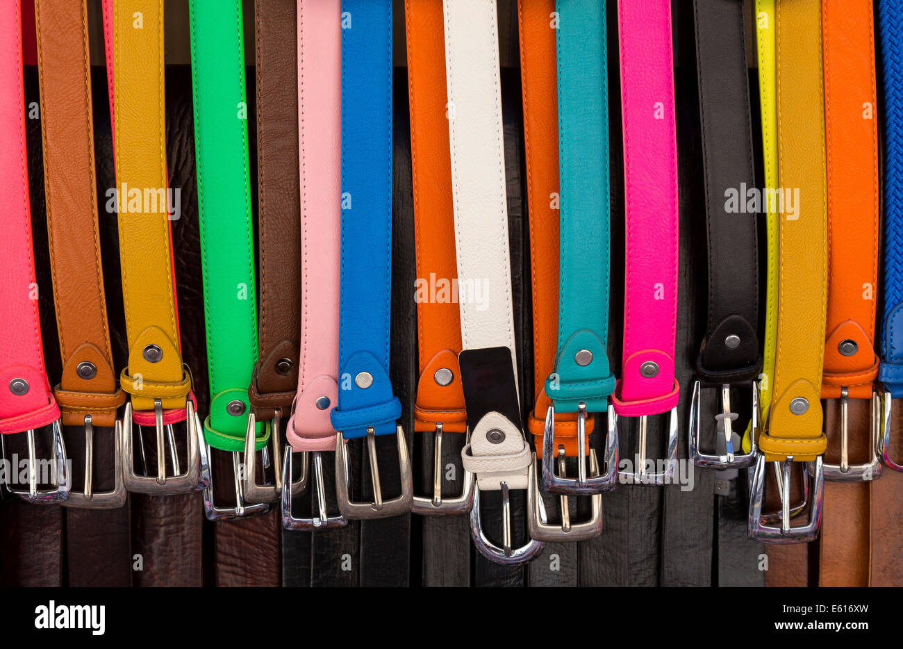 Colorful belts for sale, weekly market, Santanyi, Majorca, Balearic Islands, Spain - Stock Image