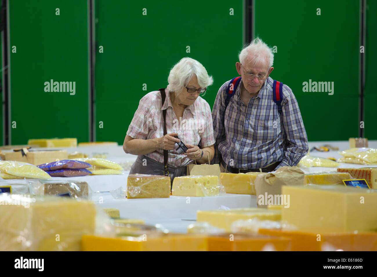 The Nantwich Show 2014. Visitors visit the Cheese Marquee. - Stock Image