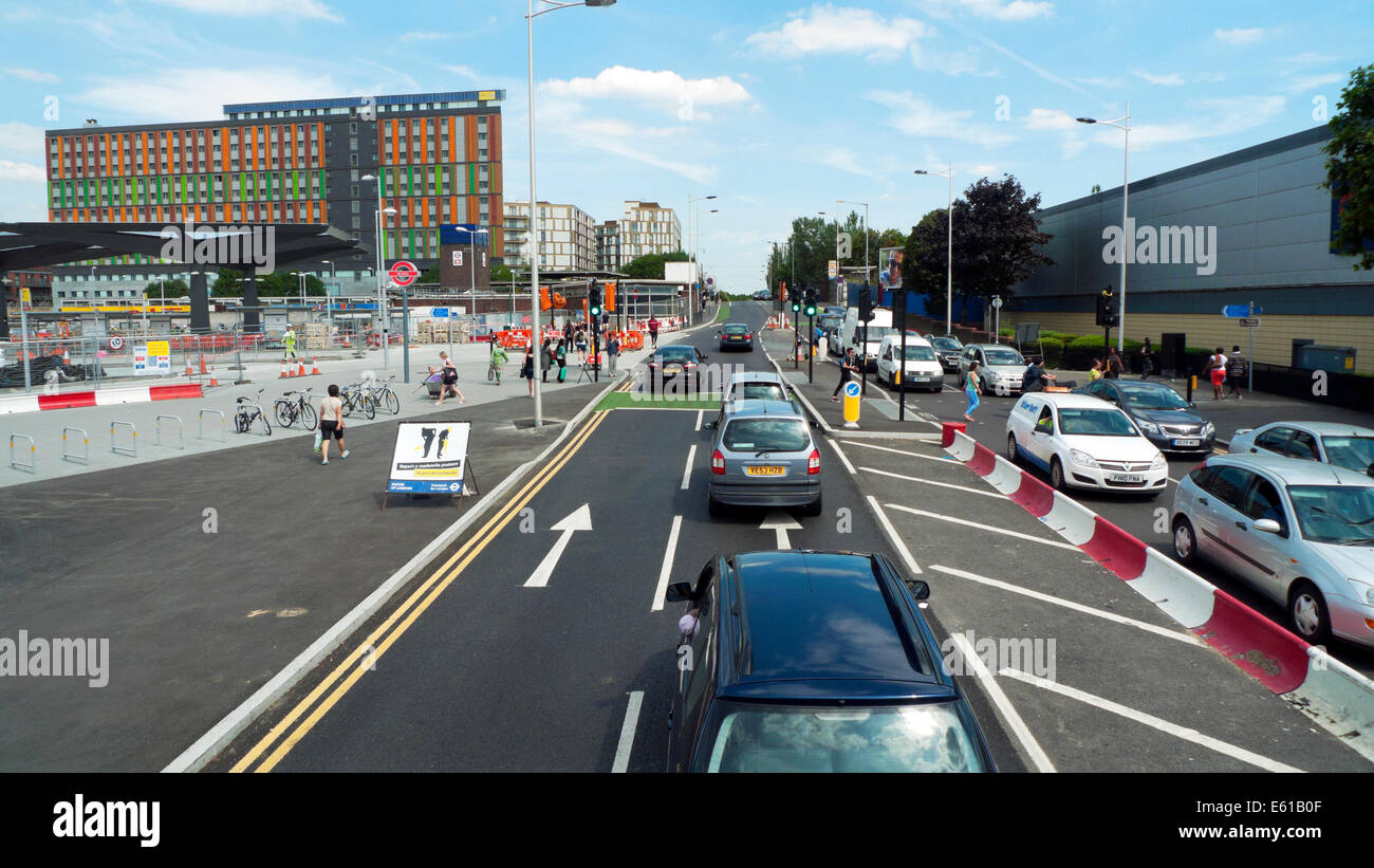 Traffic in roadworks on Ferry Lane London looking towards Forest Road and Hale Village flats Tottenham Hale  N17 Stock Photo