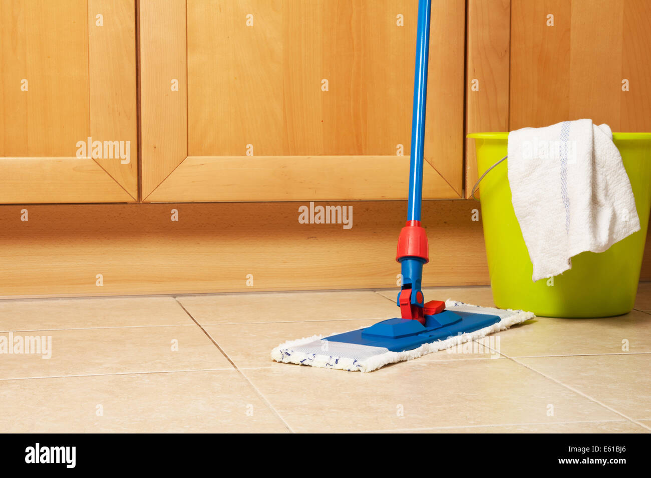 House cleaning with the mop - Stock Image