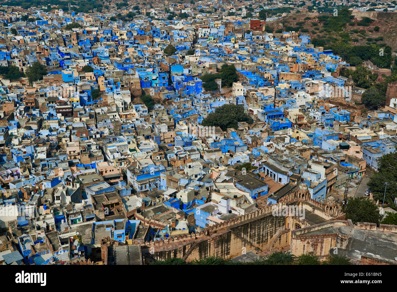 aerial view of Blue City Jodhpur, Rajasthan, India - Stock Image