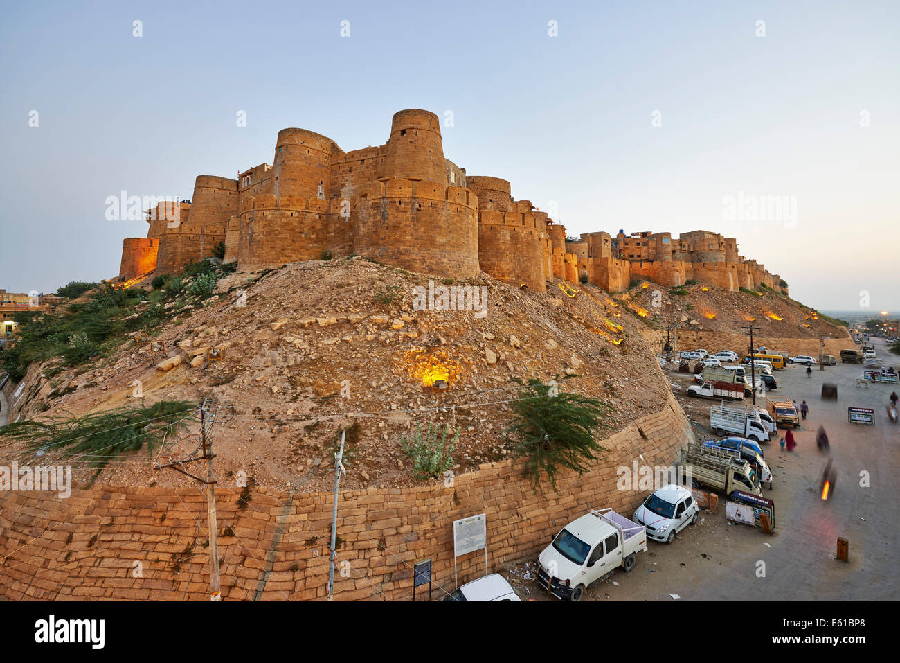 city wall of Jaisalmer, Rajasthan, India, Asia - Stock Image