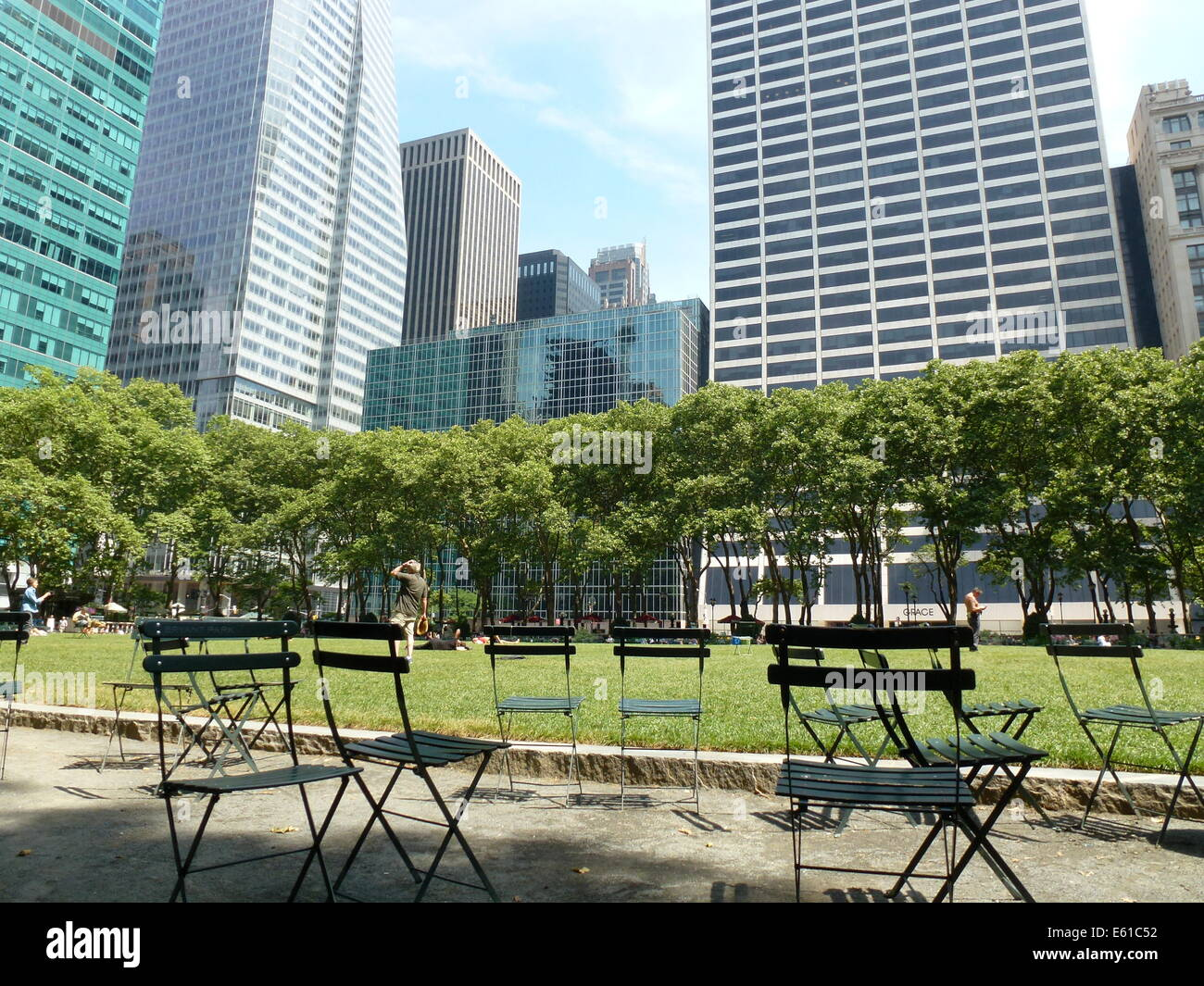 garden chairs with the writing bryant park are pictured in bryant