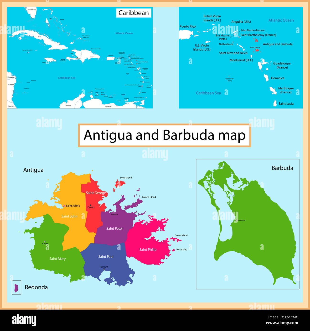 Antigua and Barbuda map Stock Photo: 72561340 - Alamy