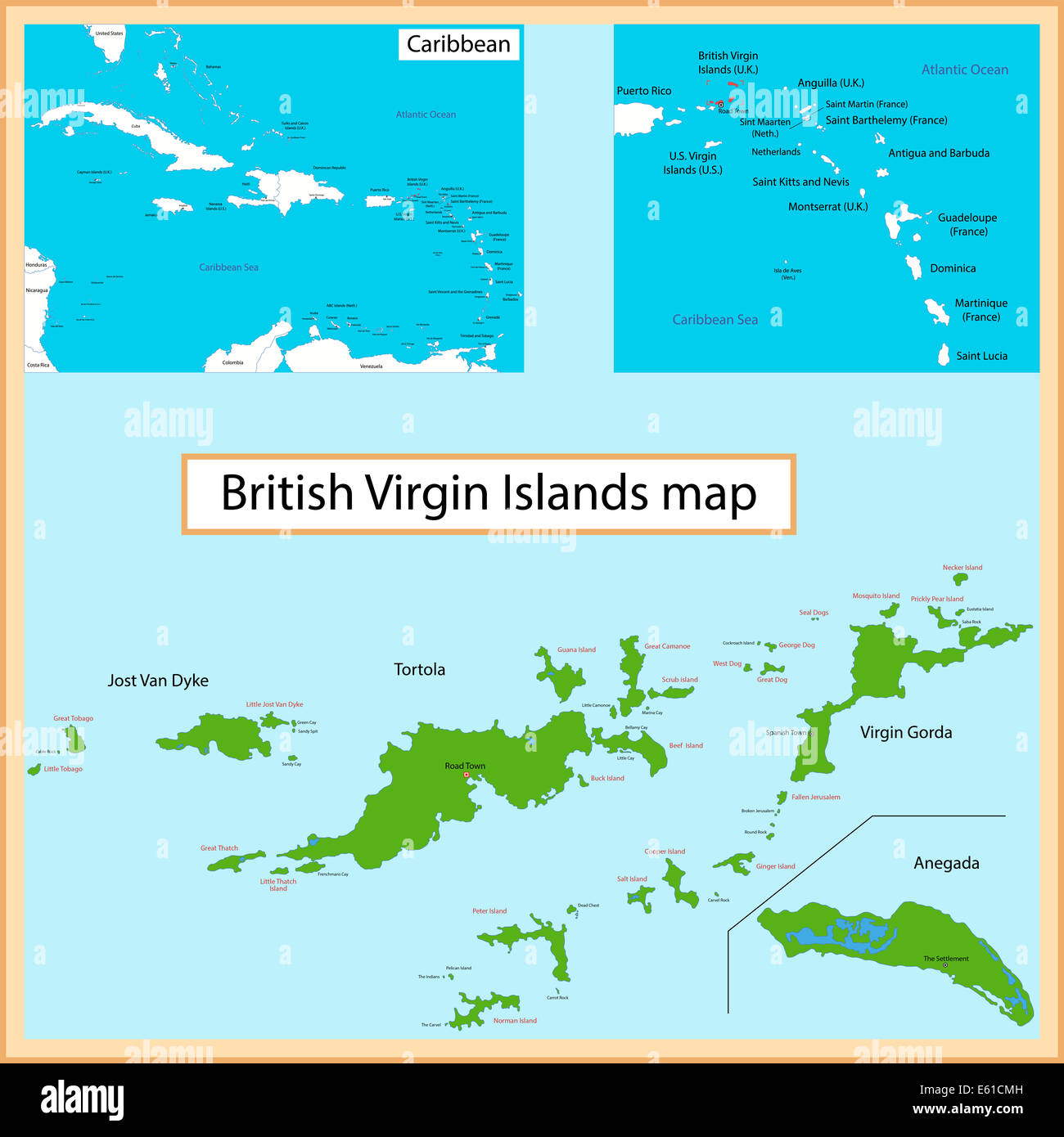 british virgin islands map stock image