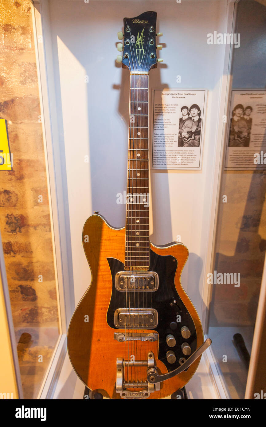 Liverpool, The Beatles Story, Interior Exhibit of George Harrison's Guitar used at The Beatles Final Cavern - Stock Image