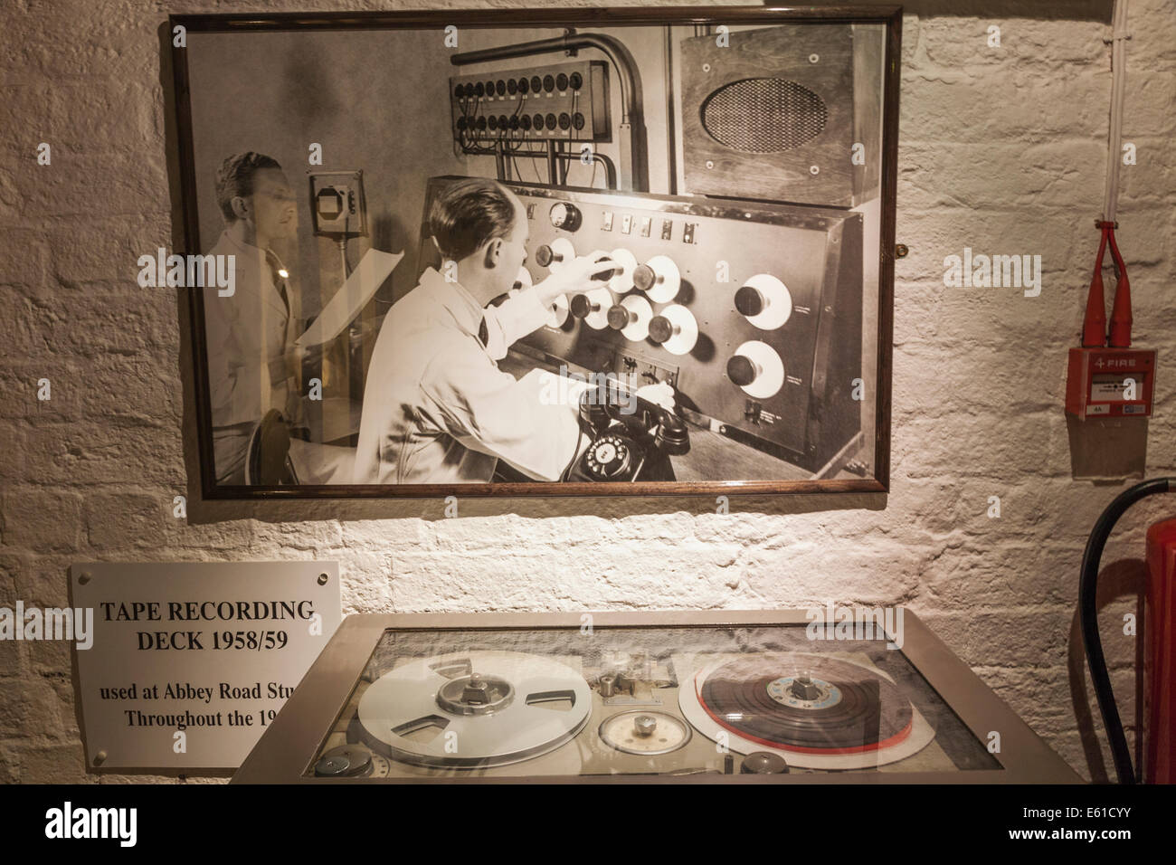 Merseyside, Liverpool, Albert Dock, The Beatles Story, Exhibit of Tape Recording Deck Used at Abbey Road Studios - Stock Image