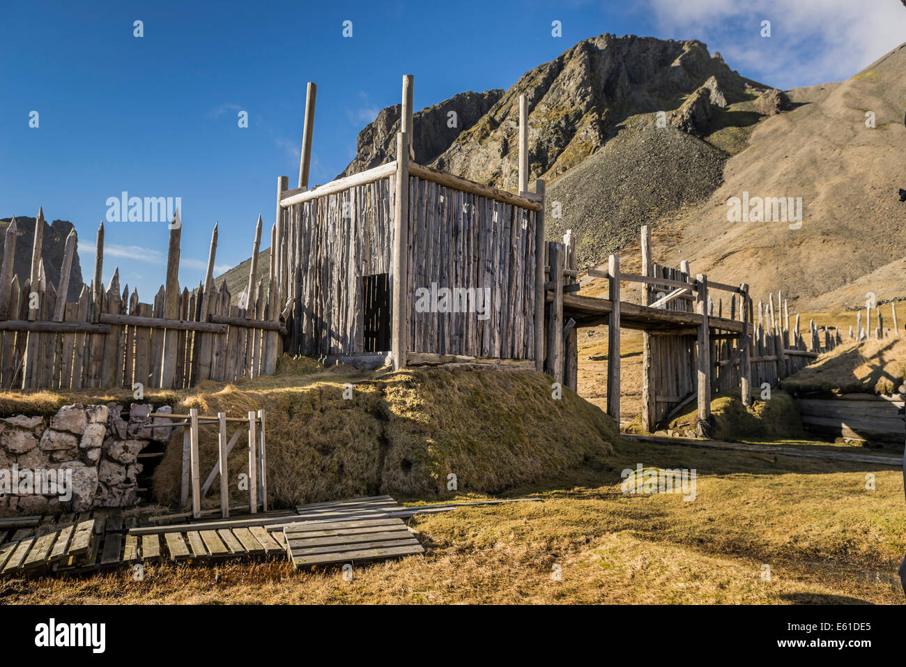 Viking era movie set, Stokksnes, Hornafjordur, Eastern Iceland Stock Photo