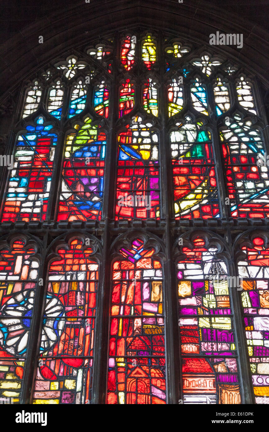 England, Manchester, Manchester Cathedral, Stained Glass Window - Stock Image