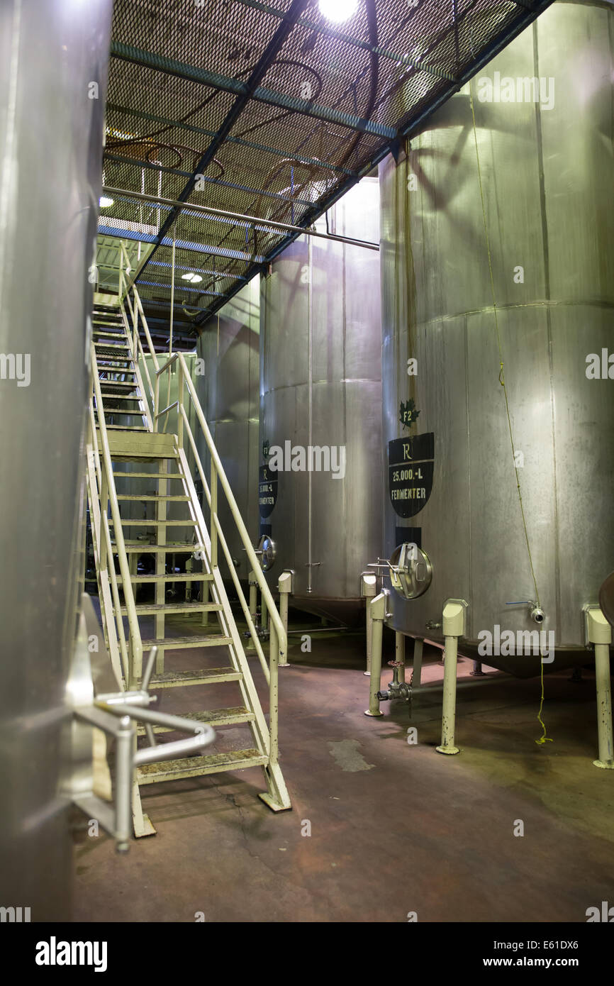 metal staircase manufacturing plant interior Stock Photo