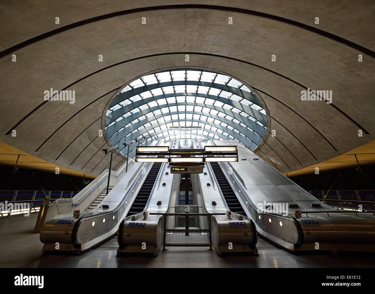 Canary Wharf Underground Station, East Entrance. London, UK. - Stock Image