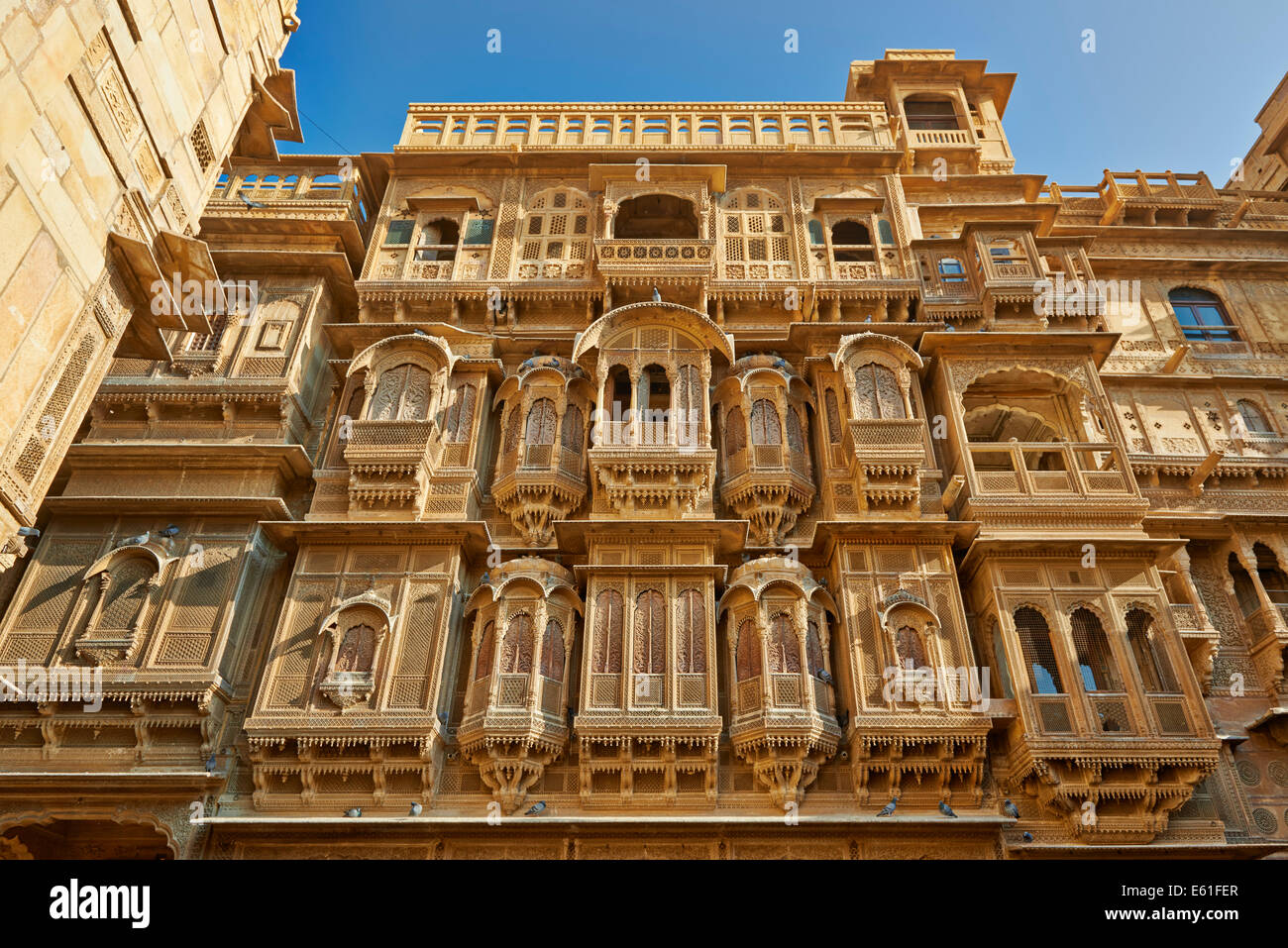rich ornated facade of Patwon Ki Haveli, Jaisalmer, Rajasthan, India Stock Photo