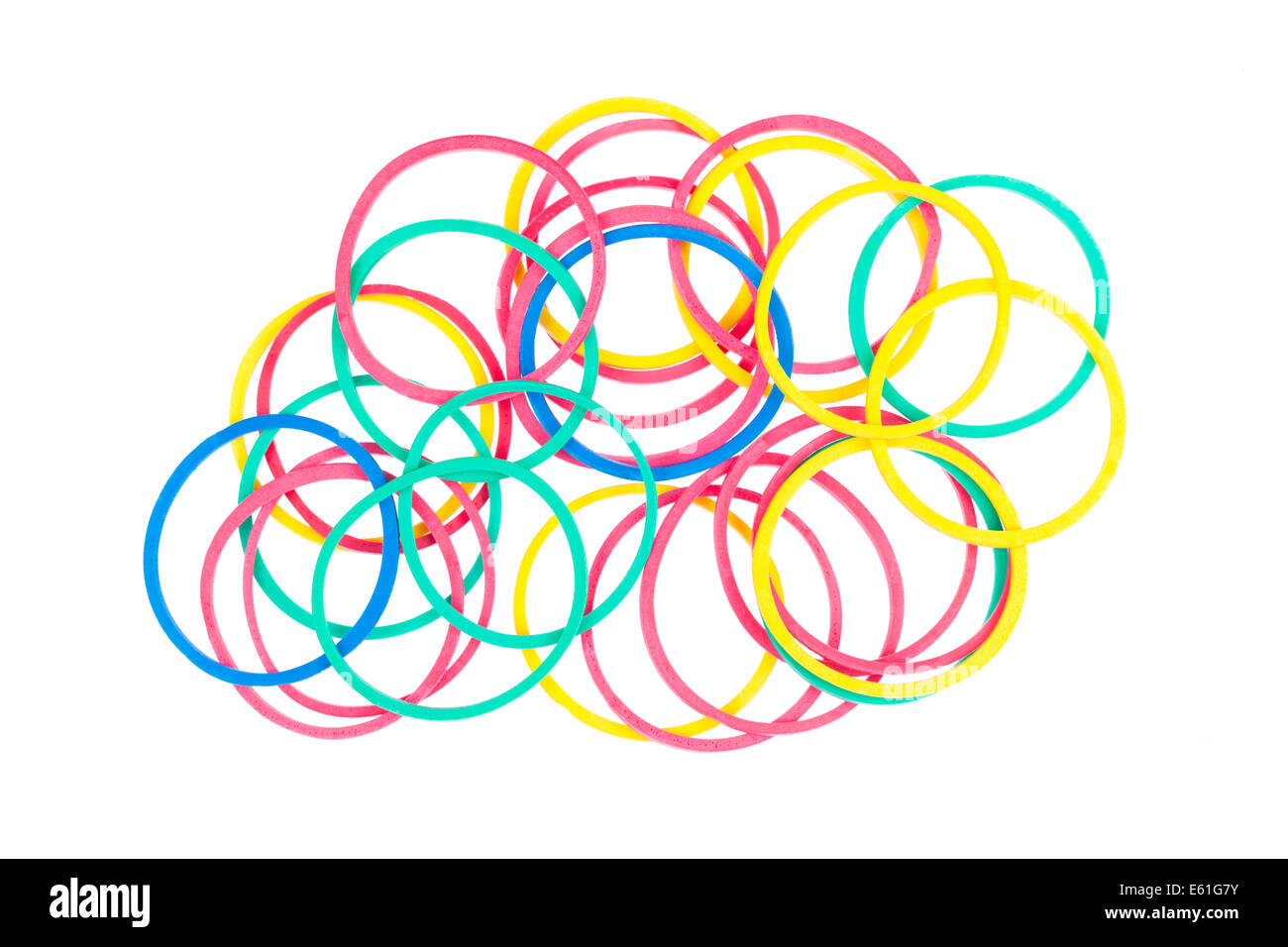 Colourful elastic bands on a white background. - Stock Image