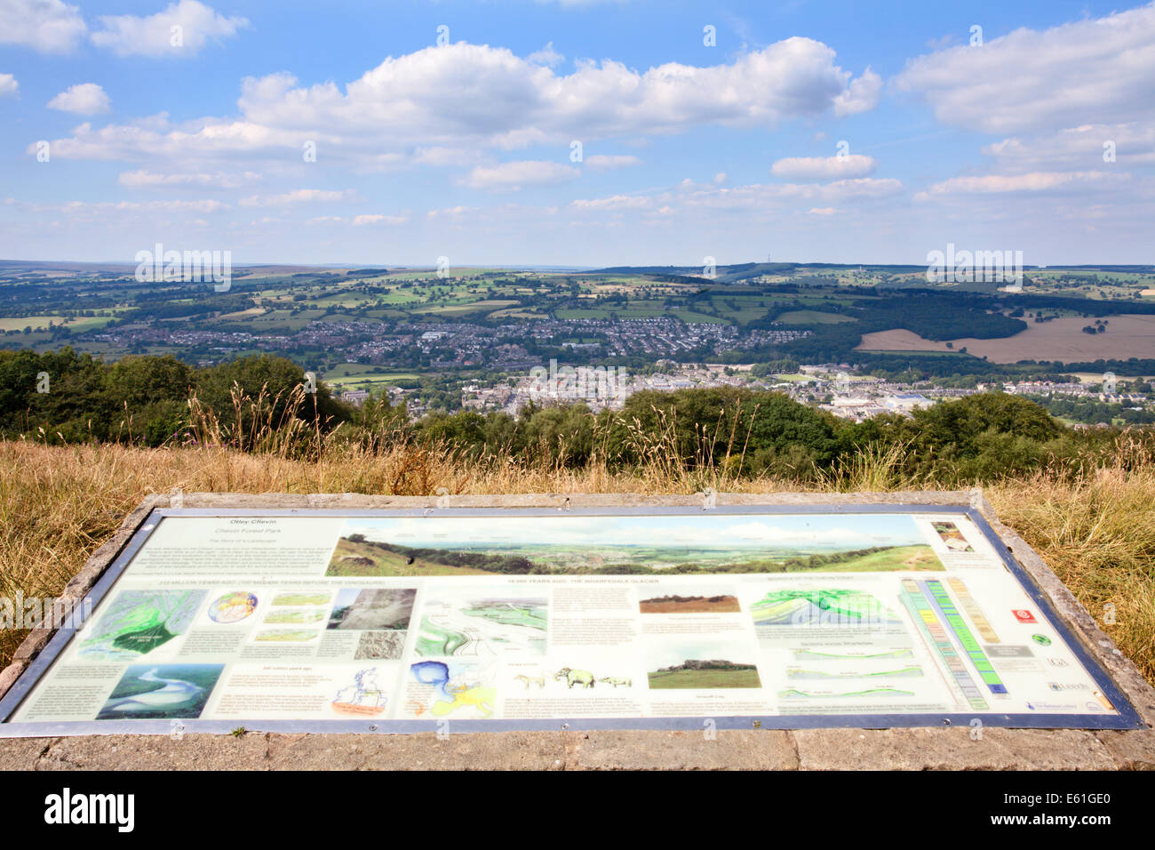 Otley Chevin Interpretation Board at the Surprise View The Chevin Otley West Yorkshire England - Stock Image