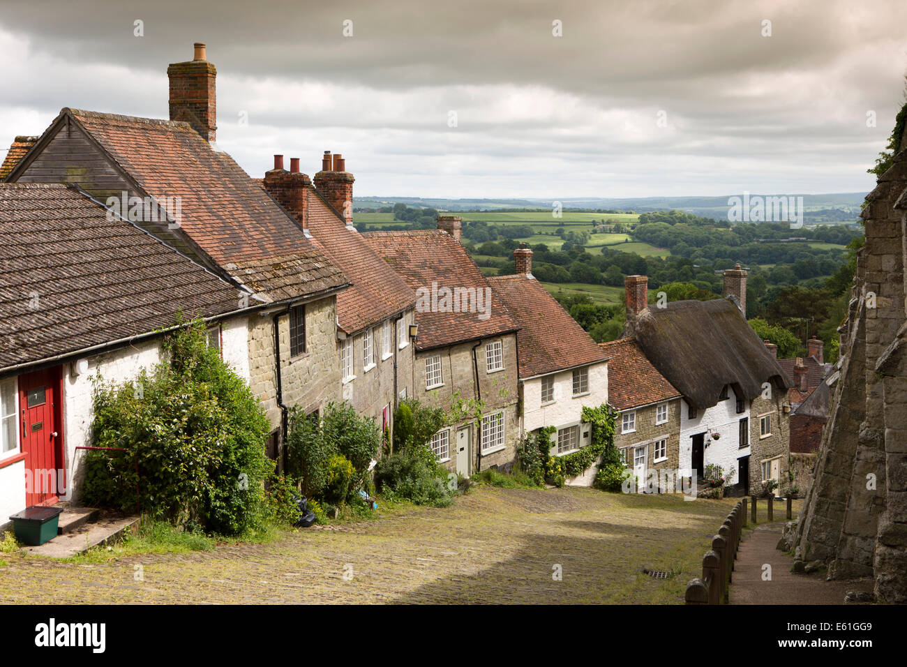 UK England, Dorset, Shaftesbury, Gold Hill - Stock Image