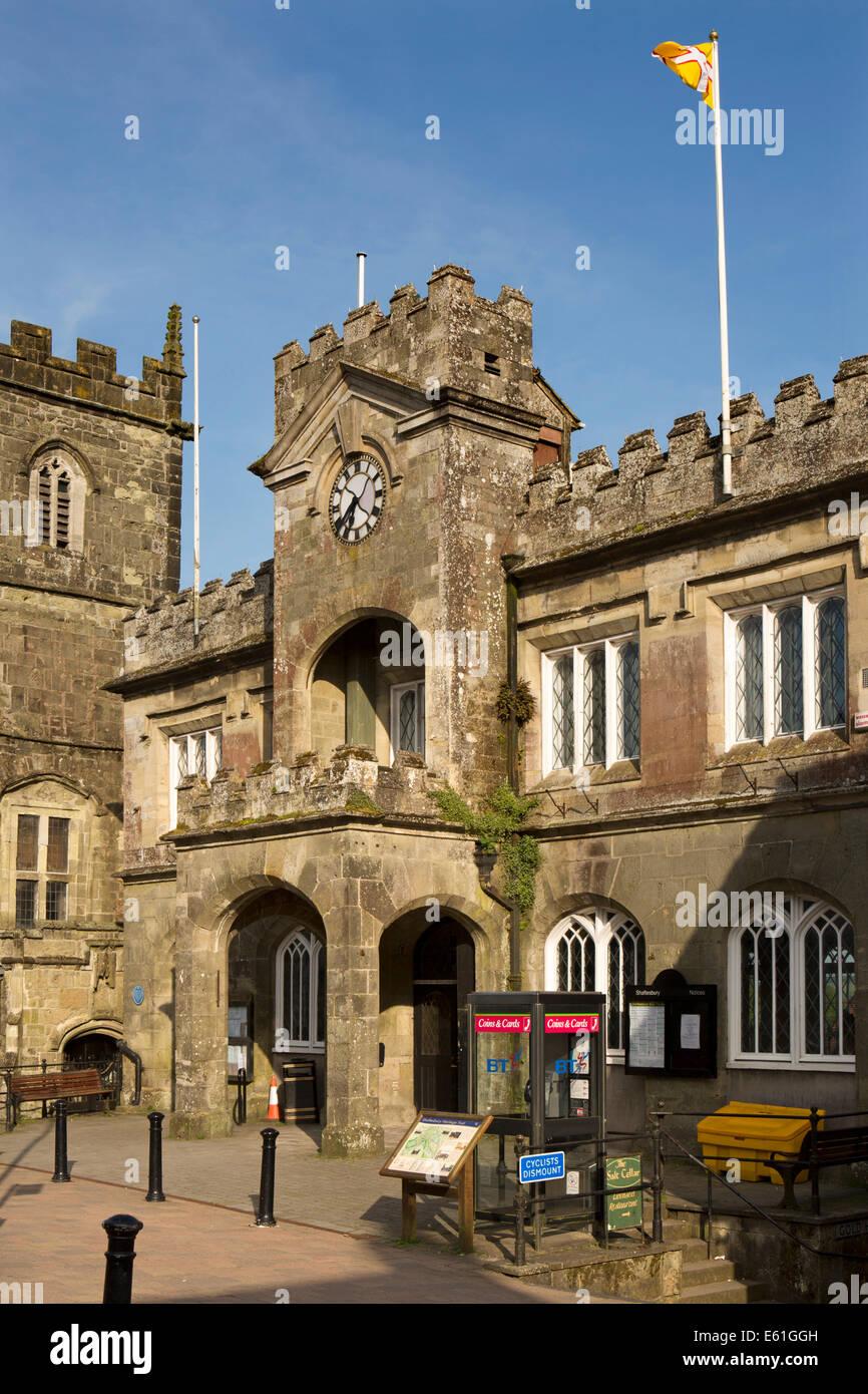 UK England, Dorset, Shaftesbury, High Street, Town Hall Stock Photo