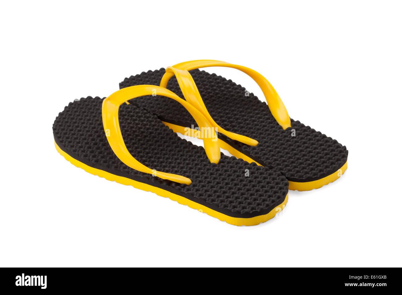 flipflop or sandal shoe isolated on white background - Stock Image
