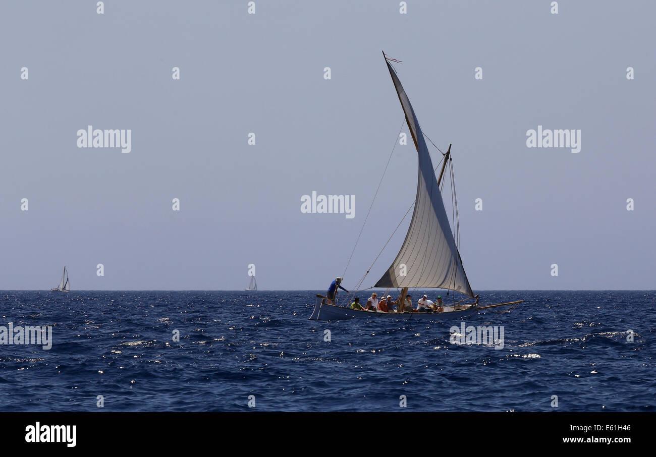 49er Class sails during the 10th leg of the Princesa sofia Sailing Race in Palma on the Spanish Balearic island - Stock Image