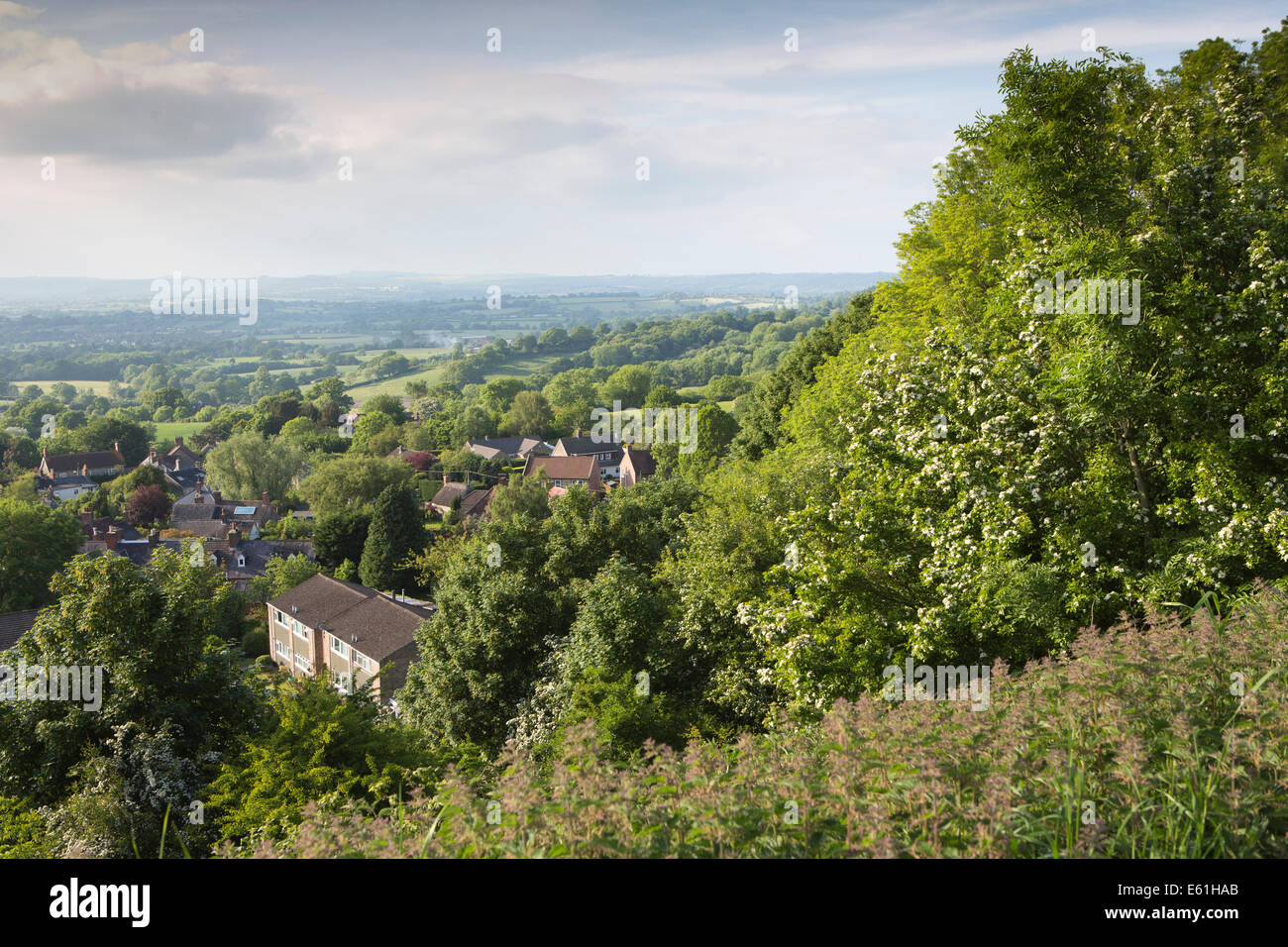 UK England, Dorset, Shaftesbury, elevated view north from Castle Hill - Stock Image