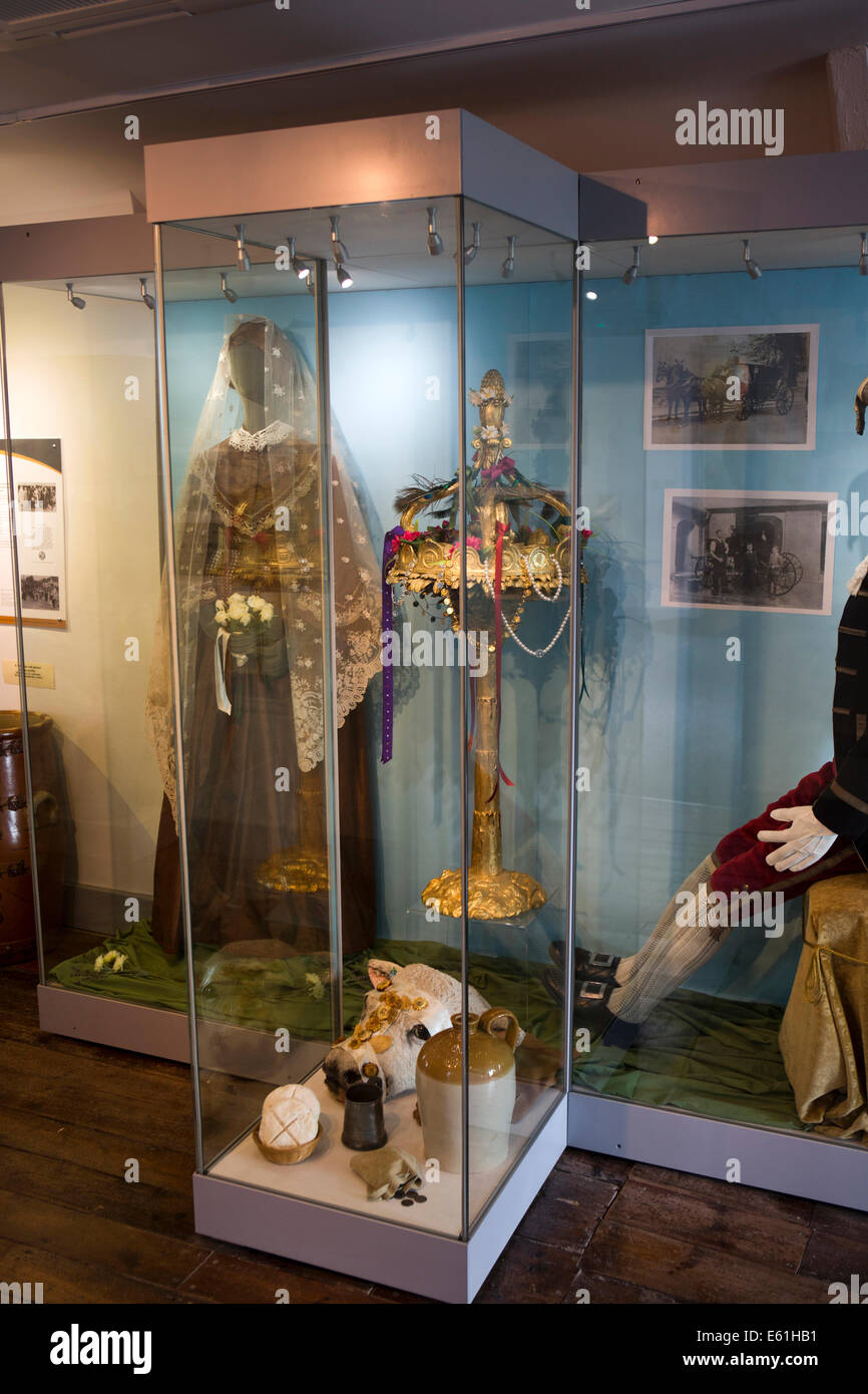 UK England, Dorset, Shaftesbury, Gold Hill, town museum, Rogation Monday Bysant ceremony gilded wood mace like a - Stock Image