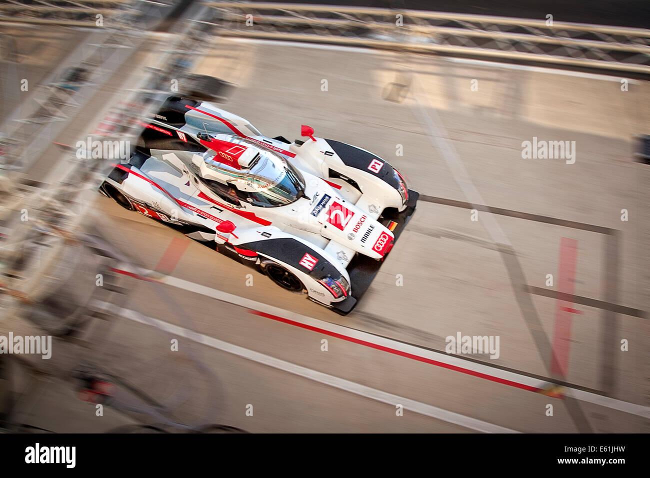 Audi R18 e-tron car No.2 entering pit 2014 Le mans 24 hour race. Car was winner of the race. Stock Photo
