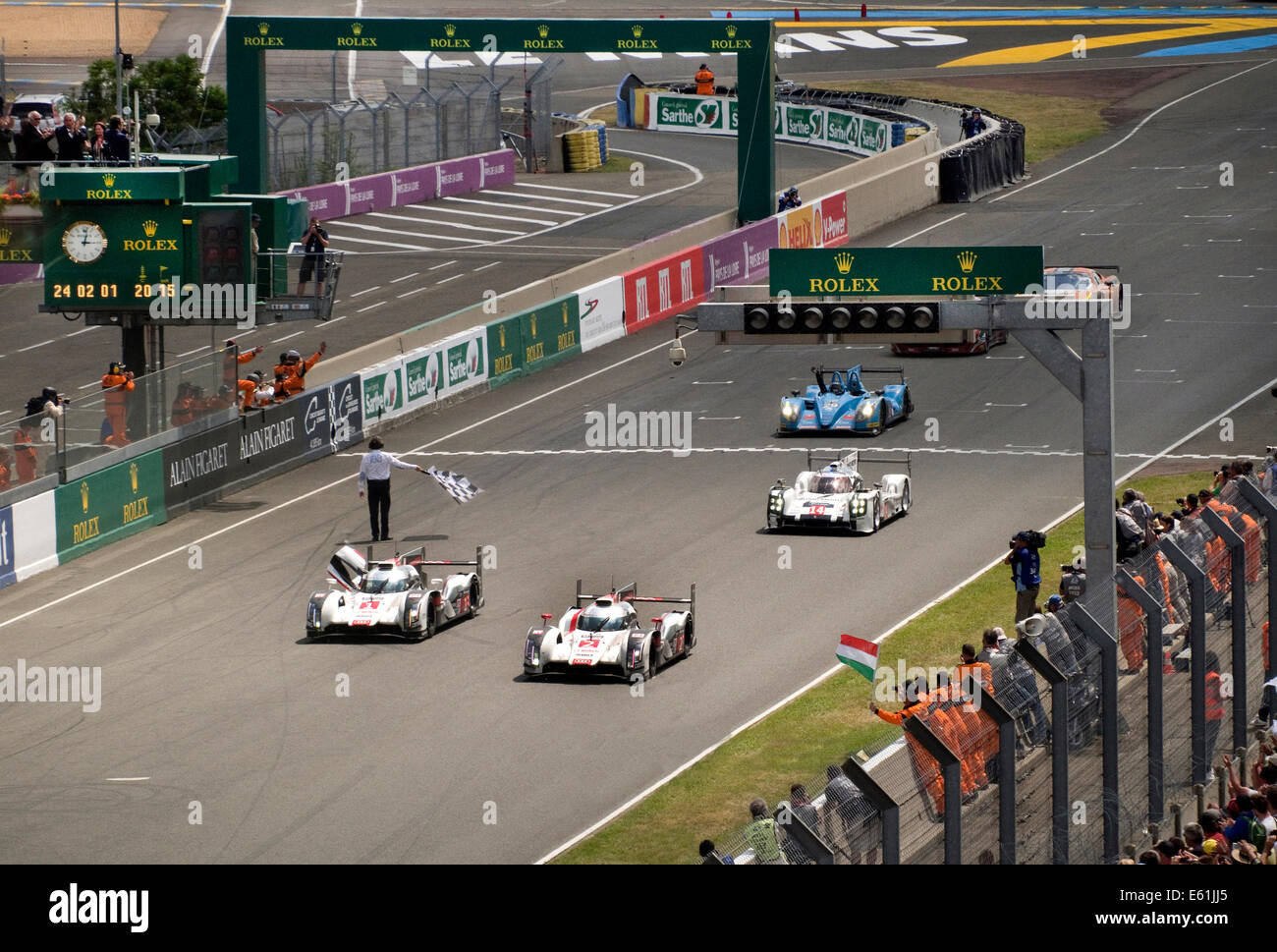 Finish line of 2014 Le Mans 24 hour race Audi R18 e-tron car number 2 the winner Stock Photo