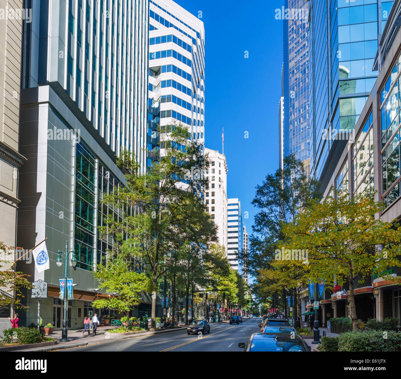 Office buildings on North Tryon Street in uptown Charlotte, North Carolina, USA - Stock Image