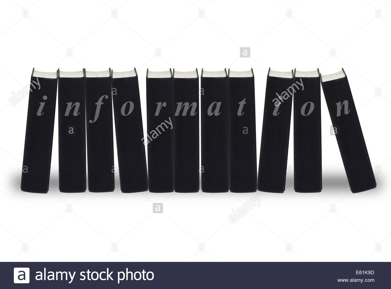 A row of black books each spelling out the word information, isolated on white - Stock Image