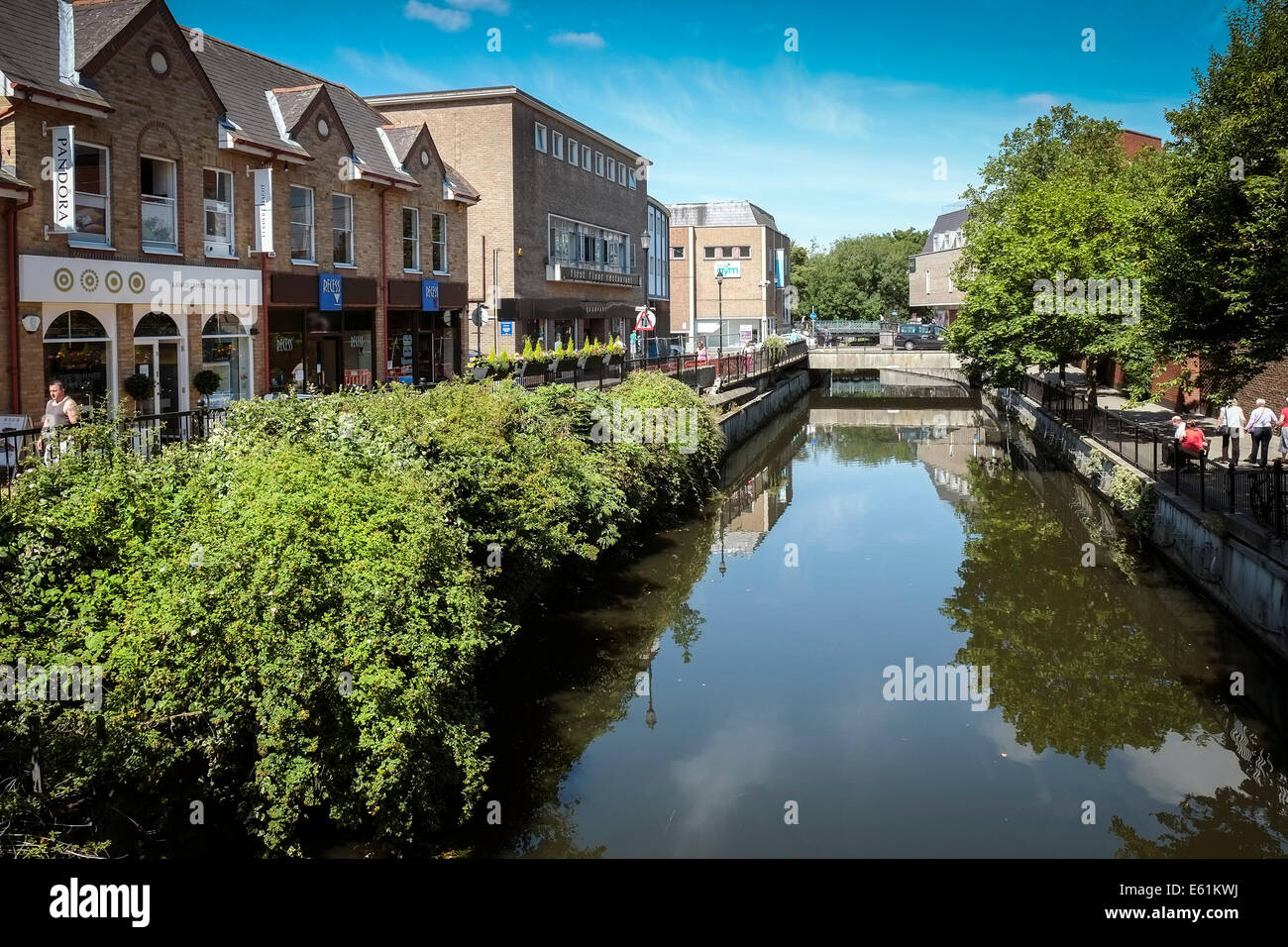 The River Can in Chelmsford City centre in Essex. - Stock Image