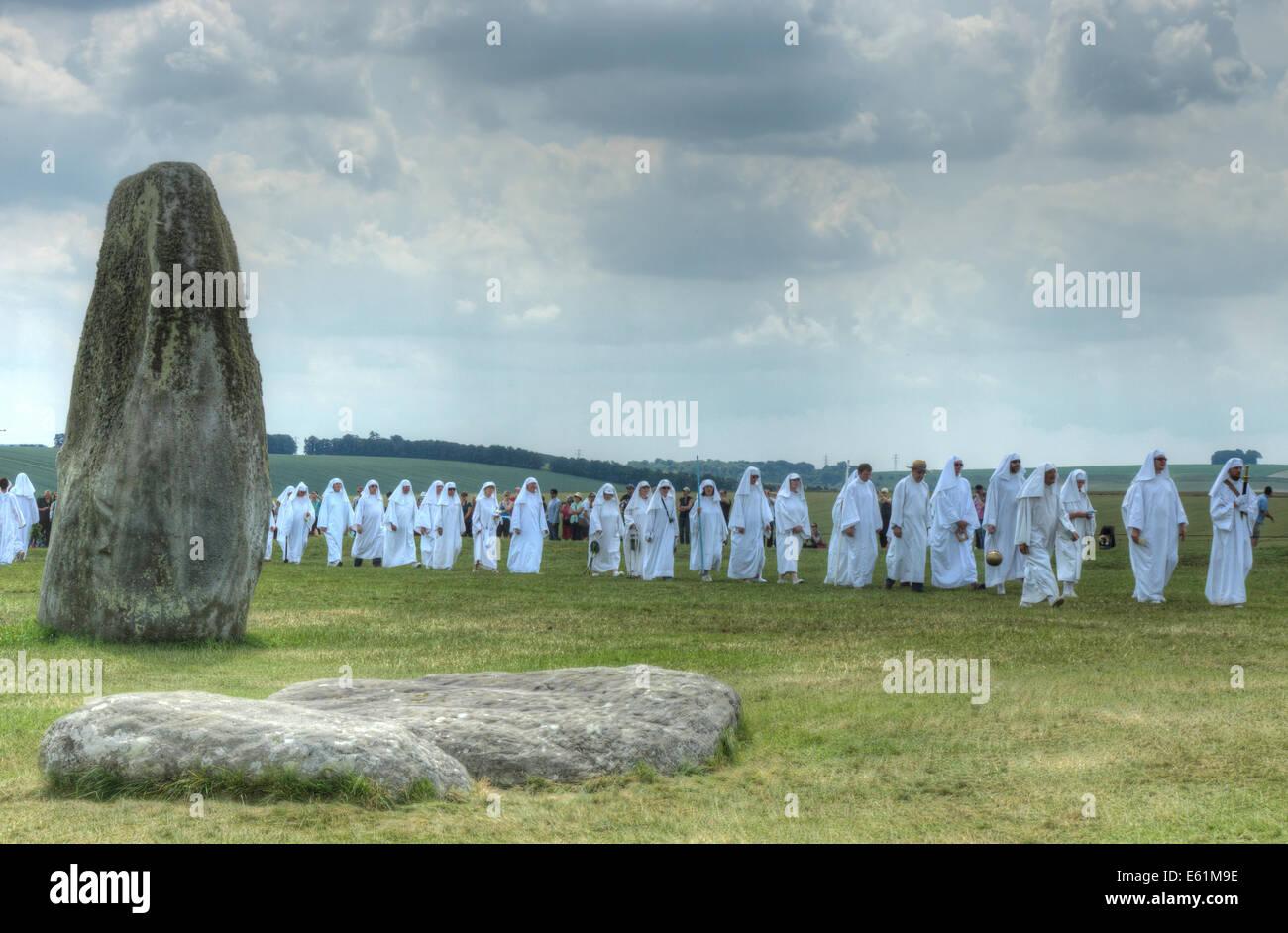stonehenge  druid ceremony  solstice pagan rites - Stock Image