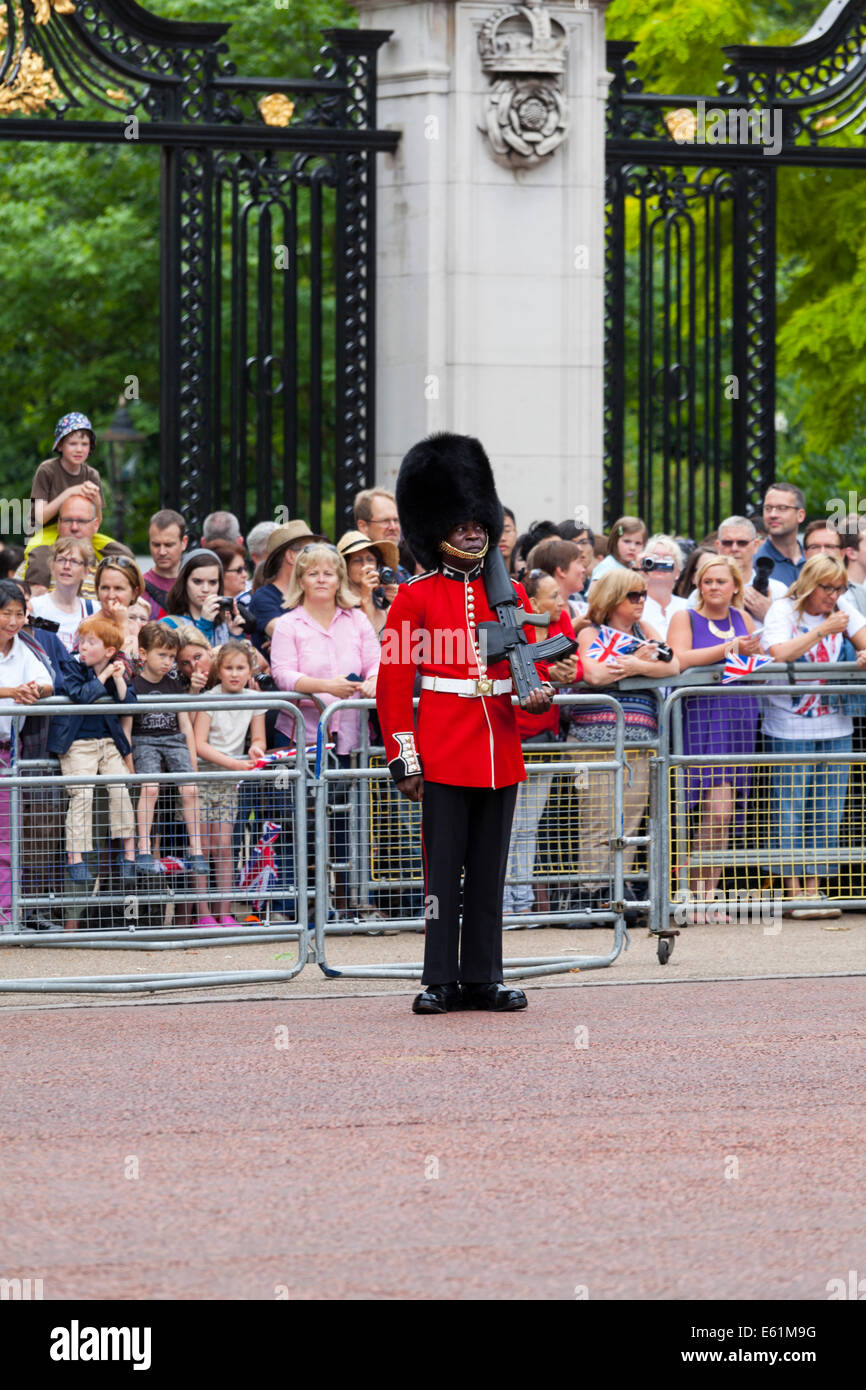 Grenadier foot guard standing to attention with tourists watching at the Trooping the Colour parade, The Mall, London - Stock Image