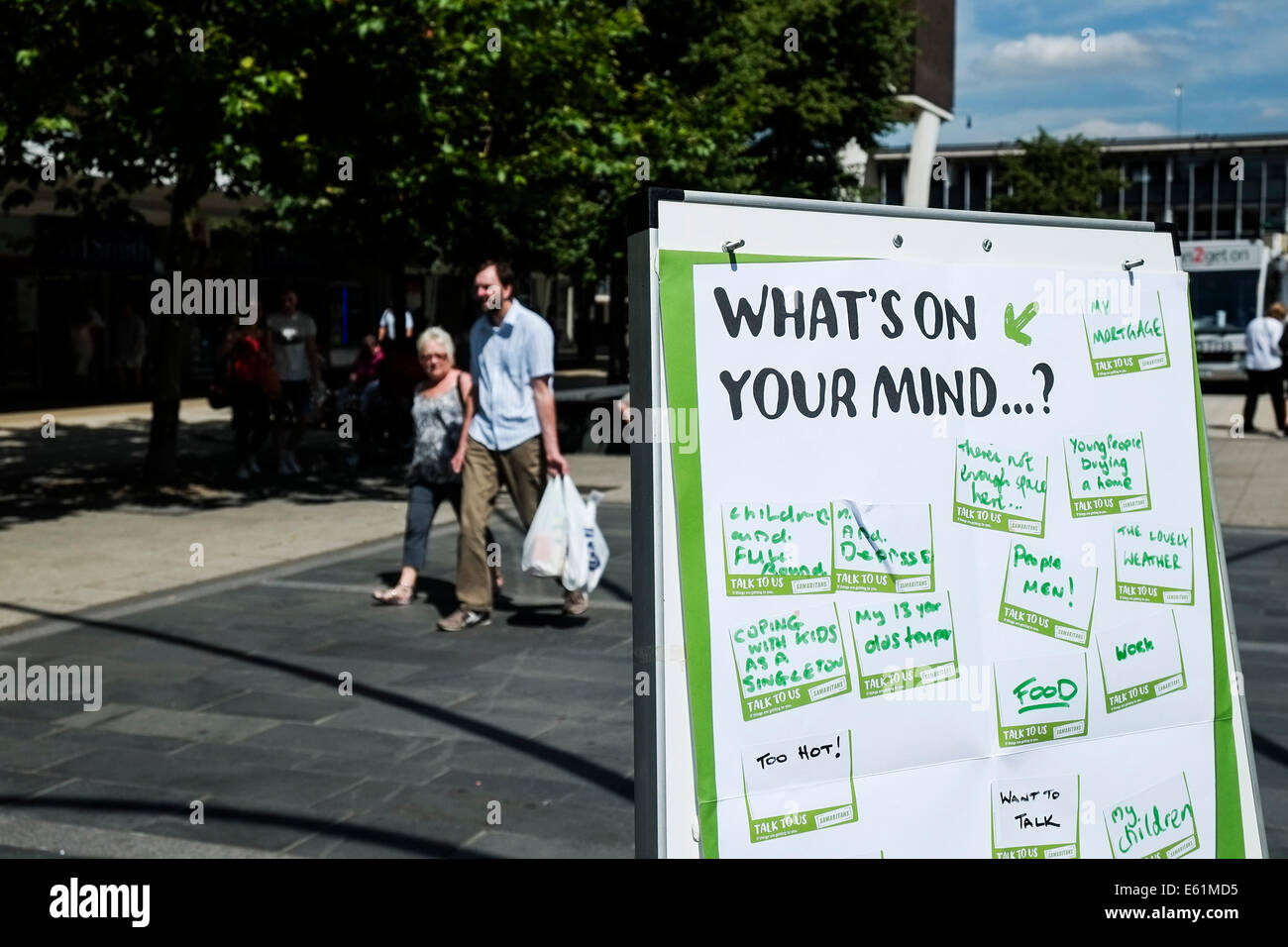 A small noticeboard used by Samaritans for the public to add their thoughts to. - Stock Image