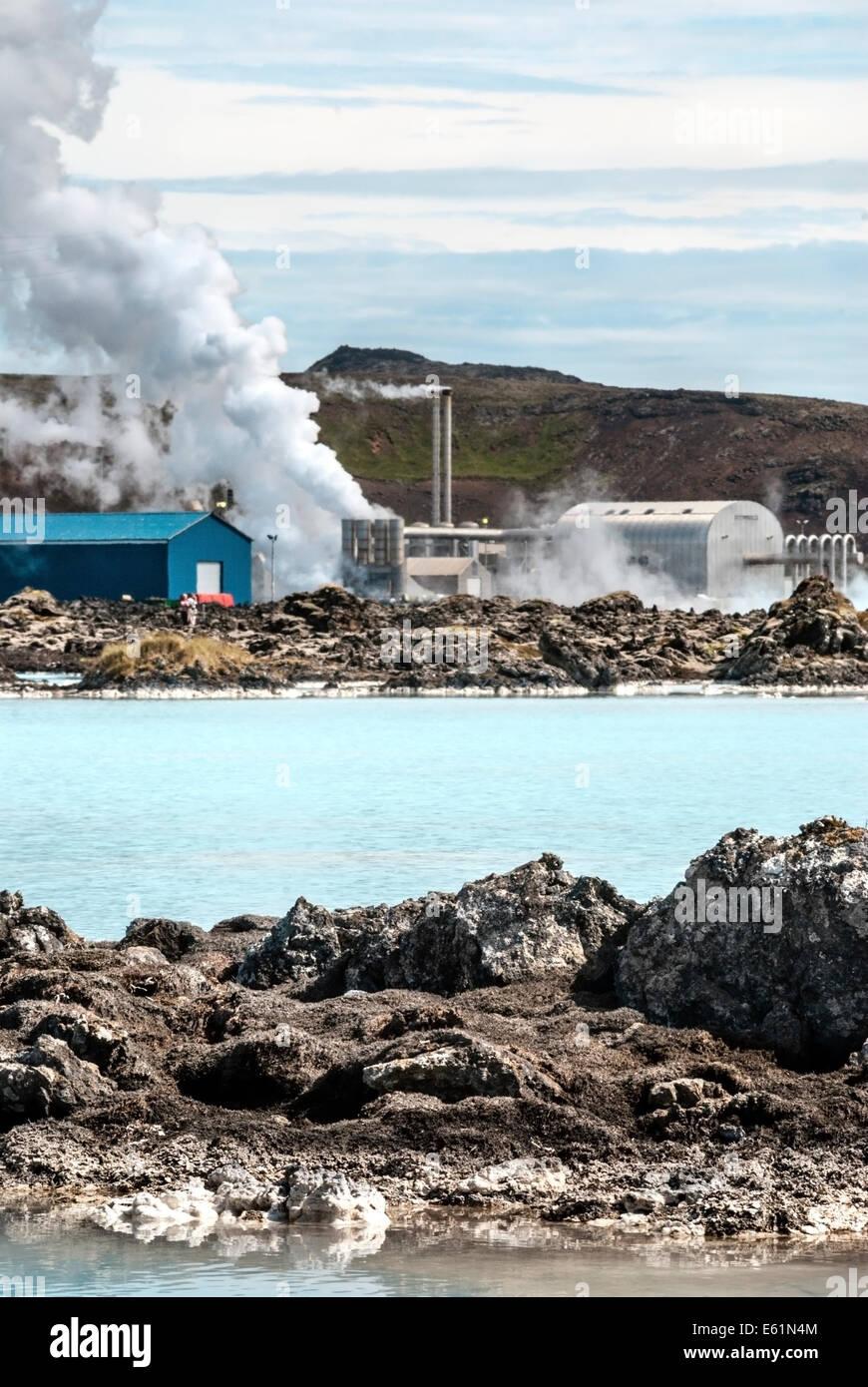 Geothermal power station at the Blue Lagoon, Iceland.   Geothermiekraftwerk an der Blauen Lagune, Island. - Stock Image