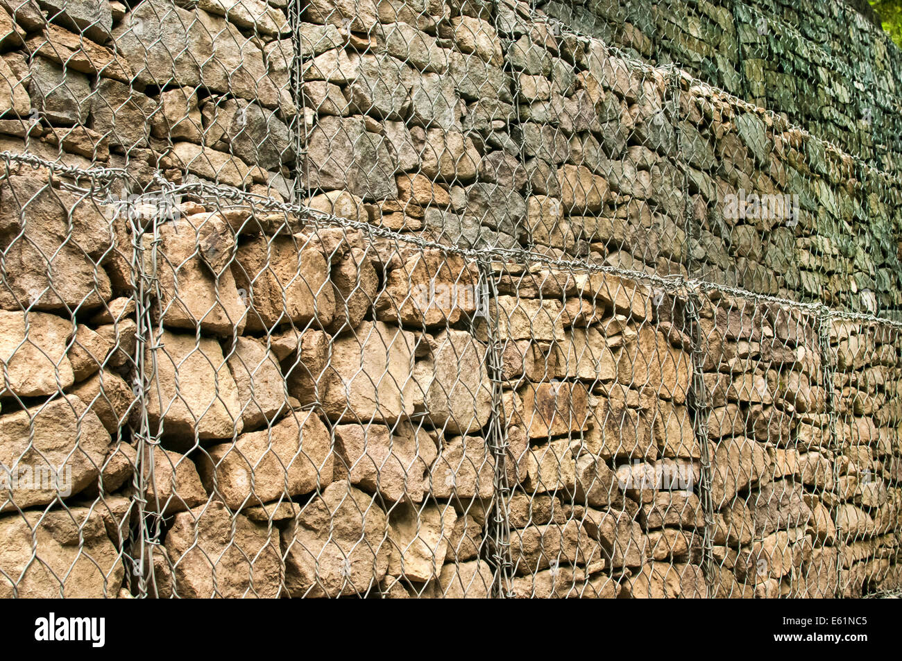 Gabion baskets filled with stones - Stock Image
