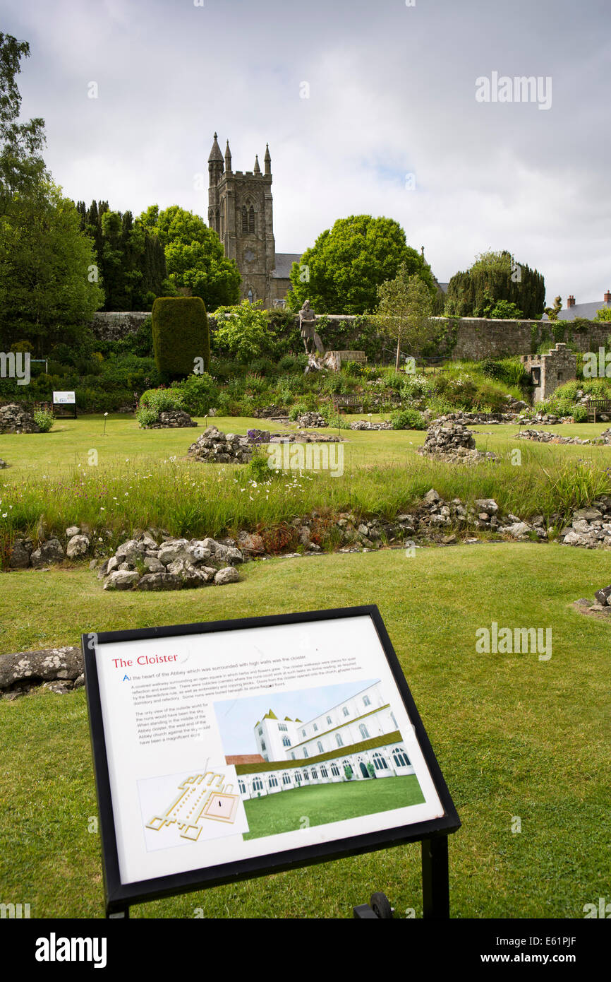 UK England, Dorset, Shaftesbury, Abbey site cloister information sign - Stock Image
