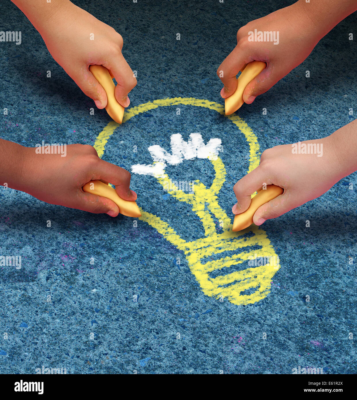 Community ideas education concept as a group of children hands holding chalk drawing a lightbulb icon on a pavement - Stock Image