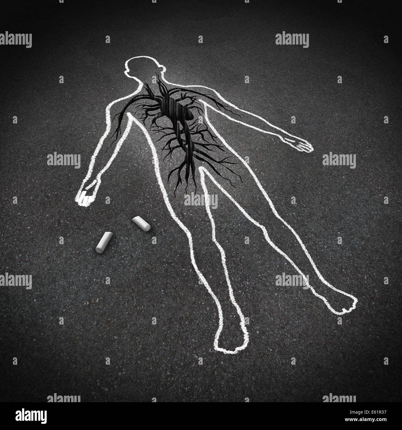Heart attack medical concept as a chalk drawing of a human on a pavement floor with a cracked hole in the asphalt - Stock Image