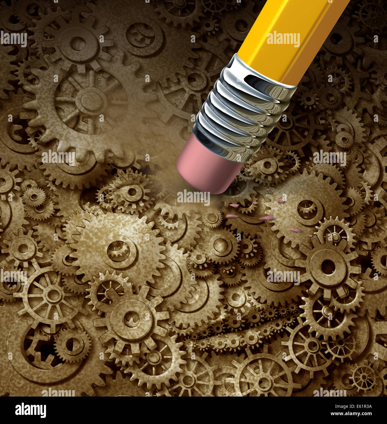 Losing function concept as a frontal head made of machine gears and cogs on a grunge background being erased by - Stock Image
