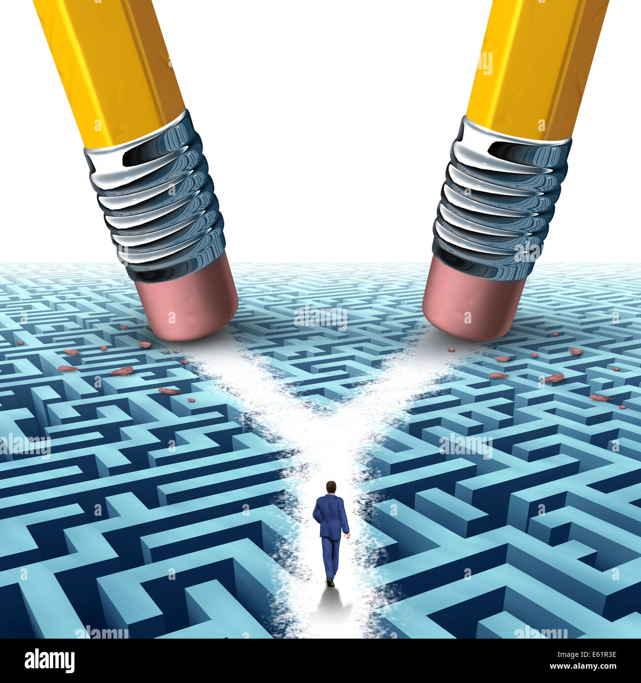 Solution crossroad business concept as a three dimensional maze or labyrinth being erased by two pencils clearing - Stock Image