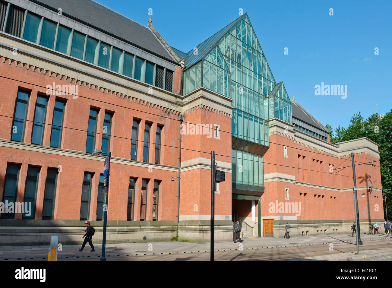 The entrance to Minshull Street Crown Court (or City Police Courts) in Manchester on a sunny day. Stock Photo