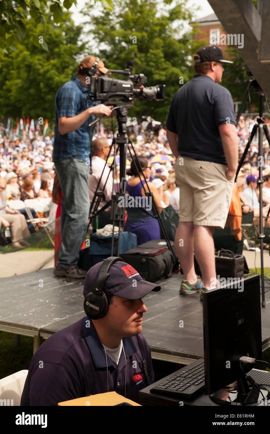 Camera and audio crew record graduation ceremony  at Williams College in Williamstown, Massachusetts. - Stock Image