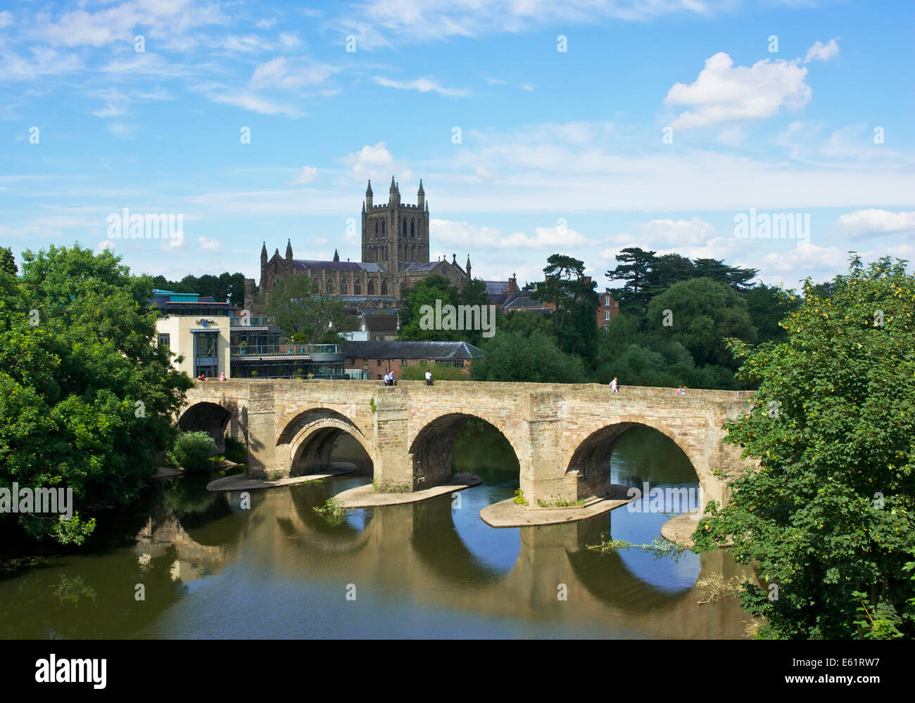 Hereford Cathedral and bridge over the River Wye, Herefordshire, England UK - Stock Image