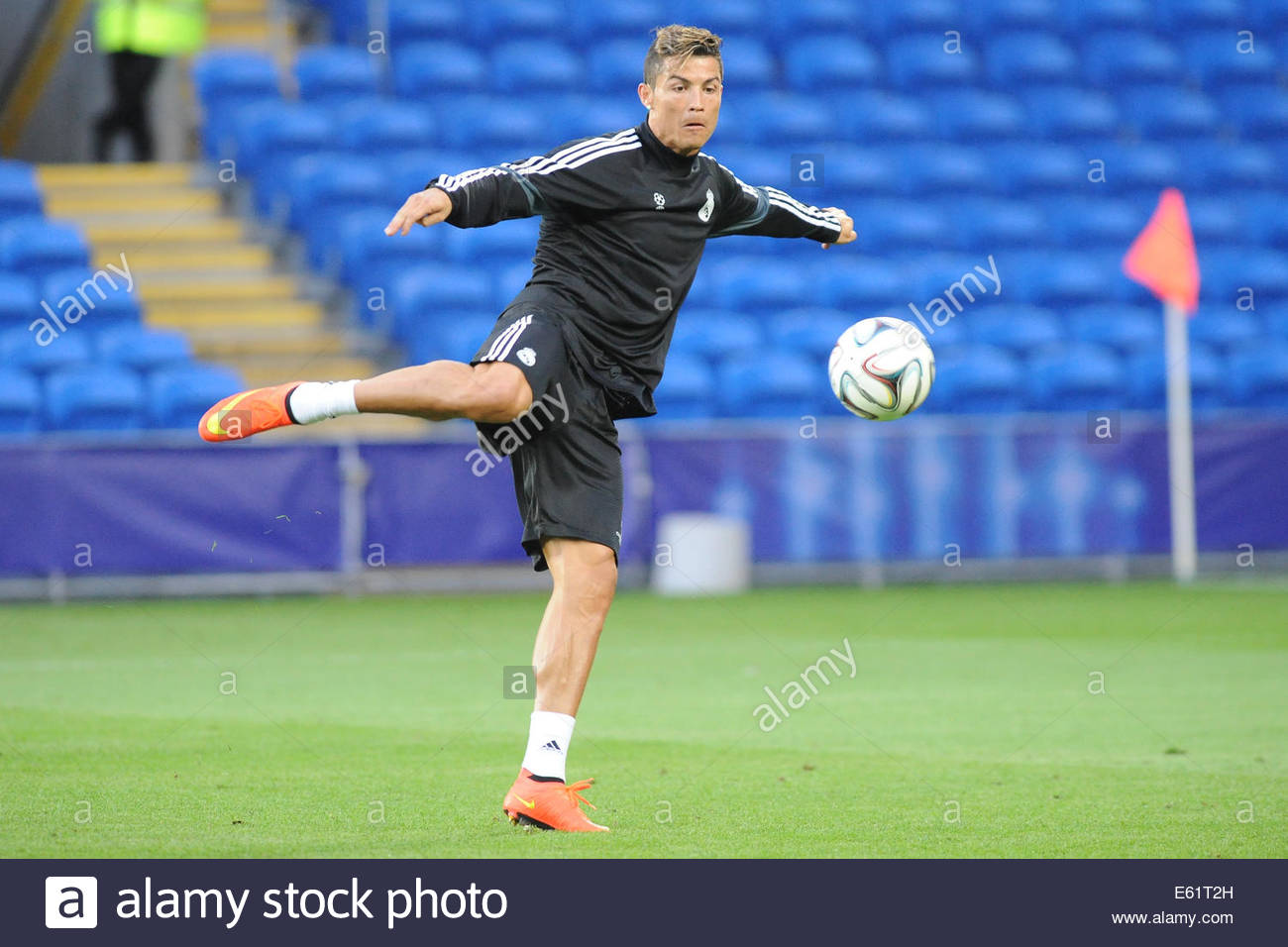 Real Madrid Player Cristiano Ronaldo During Training Session Ahead Of Super Cup Final Match Between Real