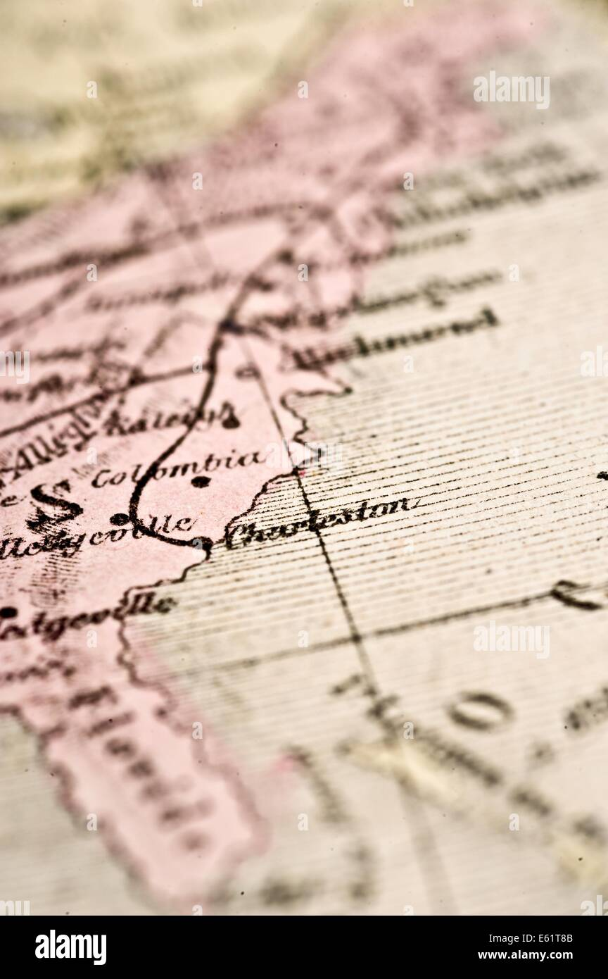 Antique Map of the Southeast Seaboard USA, circa 1864 in selective focus. - Stock Image