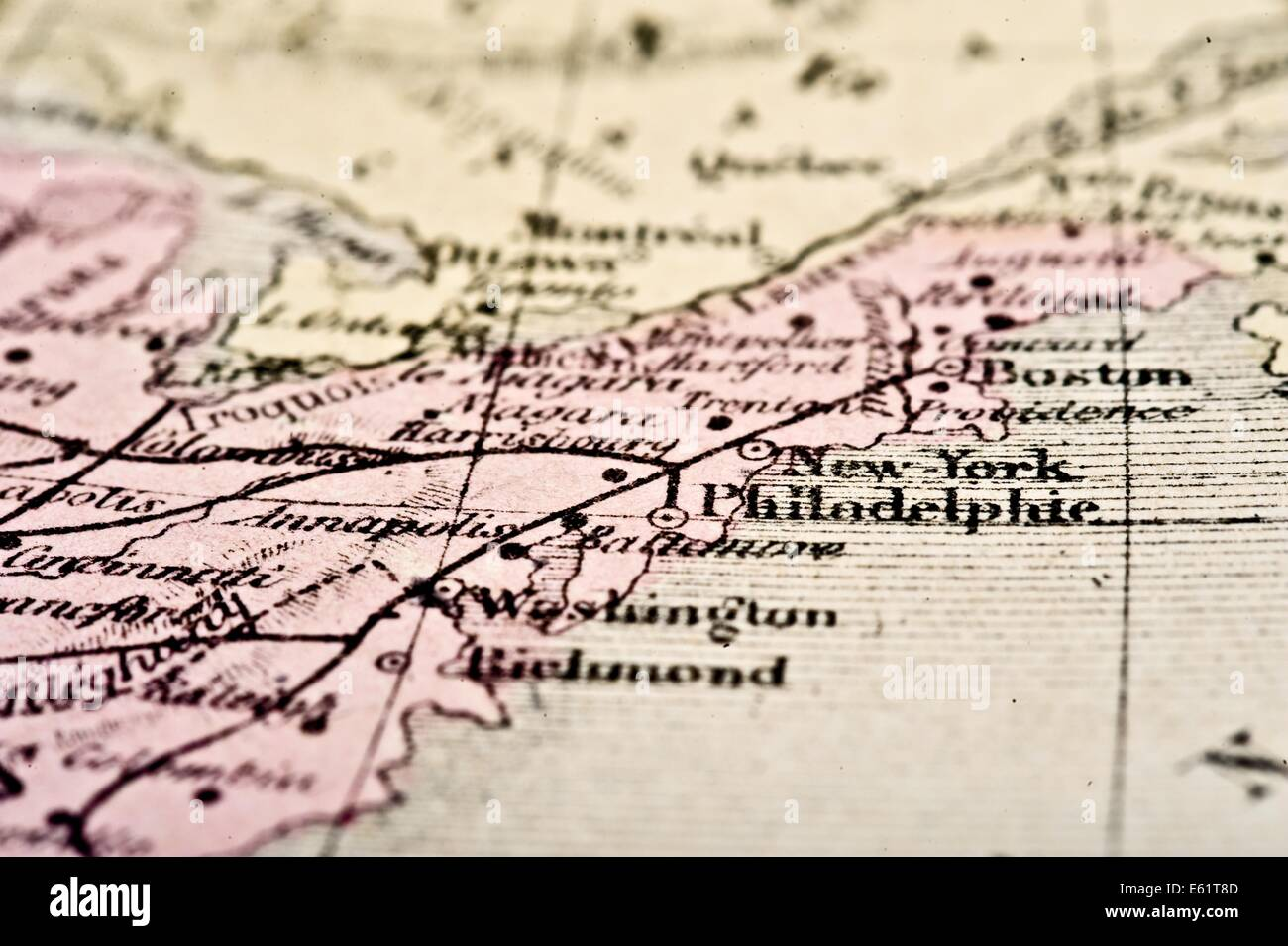 Antique Map of the Northeast USA, circa 1864 in selective focus. - Stock Image